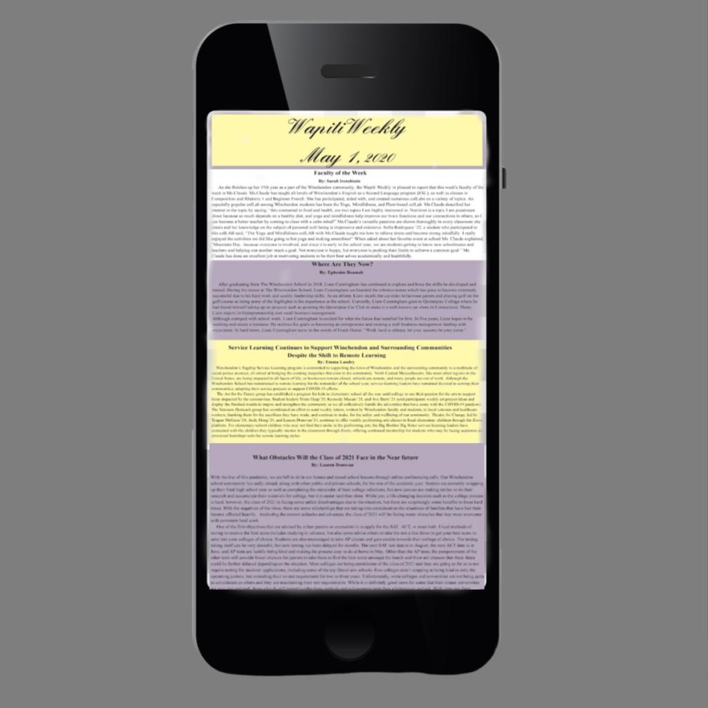Telephone showing Wapiti Weekly, the student run newspaper